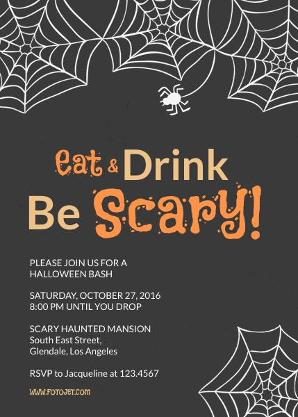 Printable Halloween Party Invitation Template FotoJet - halloween invitation