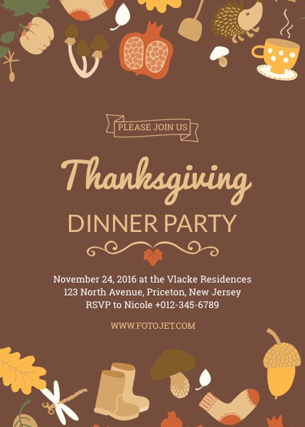 Thanksgiving Party Invitation Template Template FotoJet