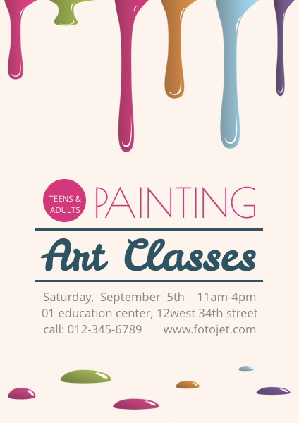 Painting Art Classes Promotional Poster Template Template FotoJet - class template