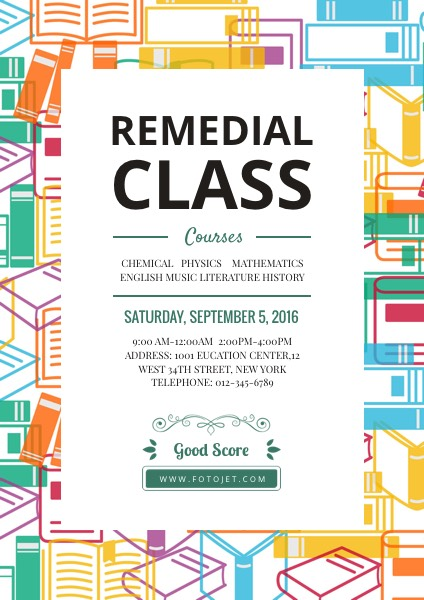 Remedial Class Education Poster Template FotoJet - education poster template