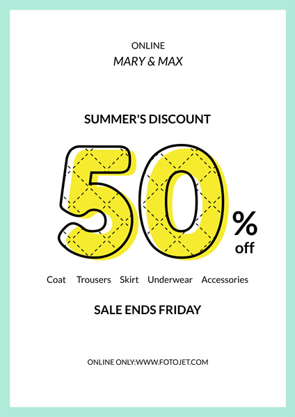 Clothing Store Summer Sale Poster Design Template Template FotoJet - sale poster design