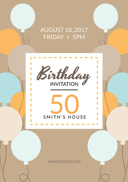 50Th Birthday Party Invitation Poster Design Template Template FotoJet