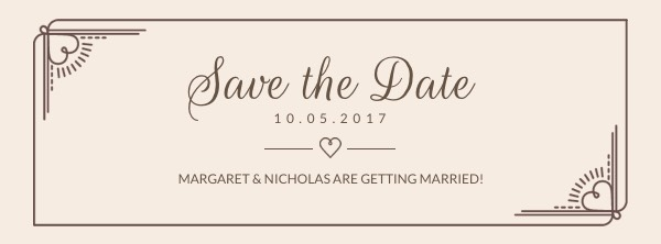 Minimalist Save the Date Facebook Cover Photo Template Template