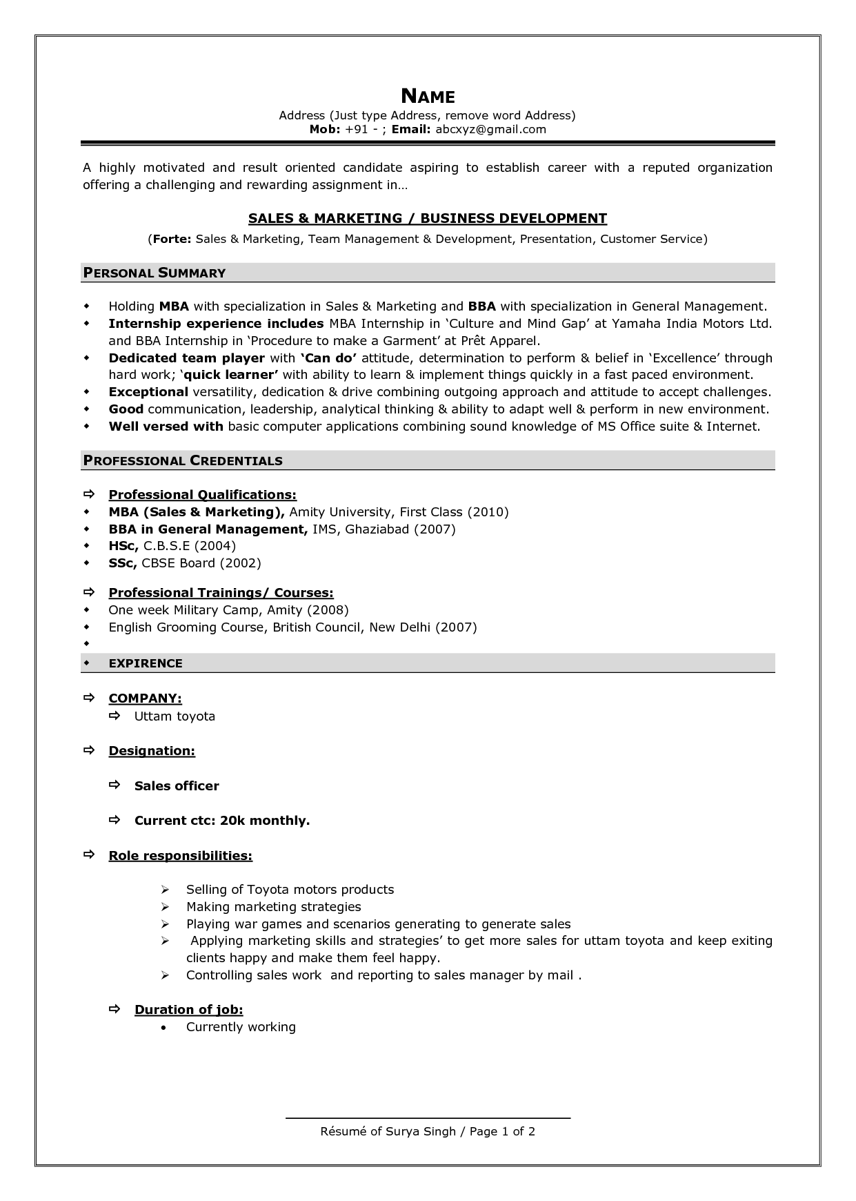 proper format for a resume resume template objective for summer - Proper Format Of A Resume