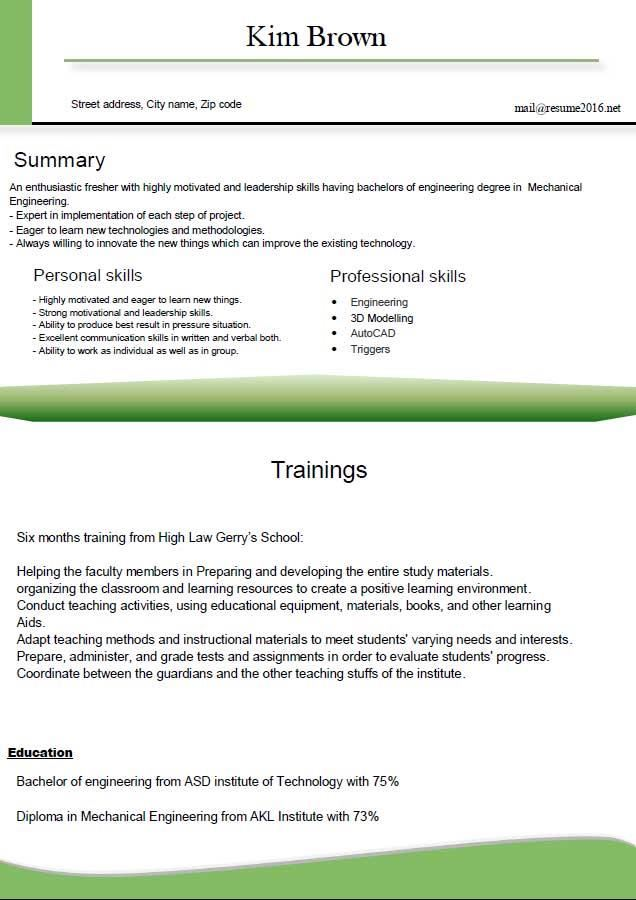 the best resume format for freshers - Baskanidai