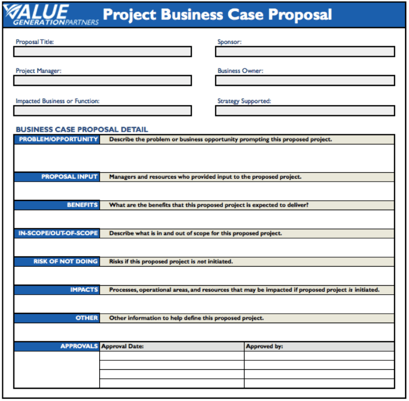 Project Proposal Template Simple – Simple Business Case Template