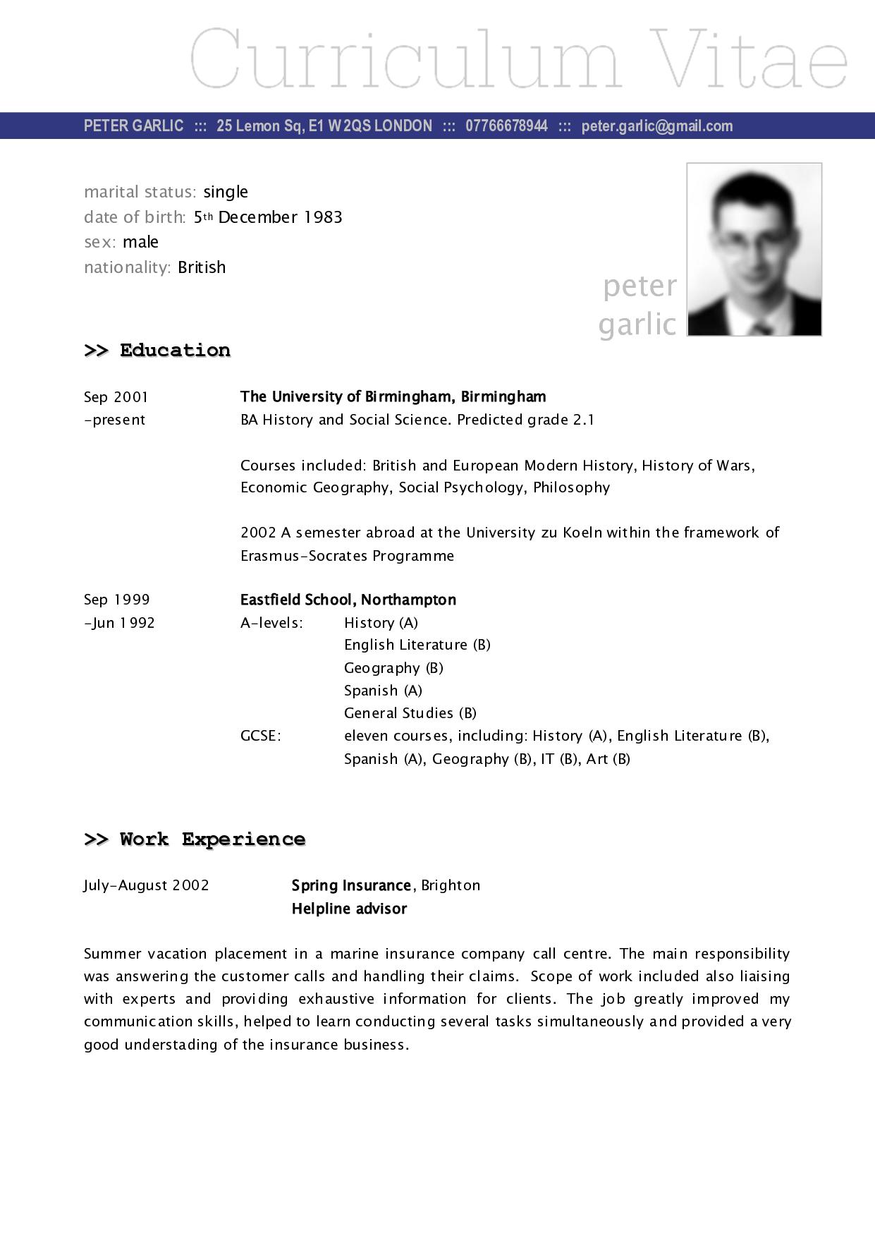 german cv format