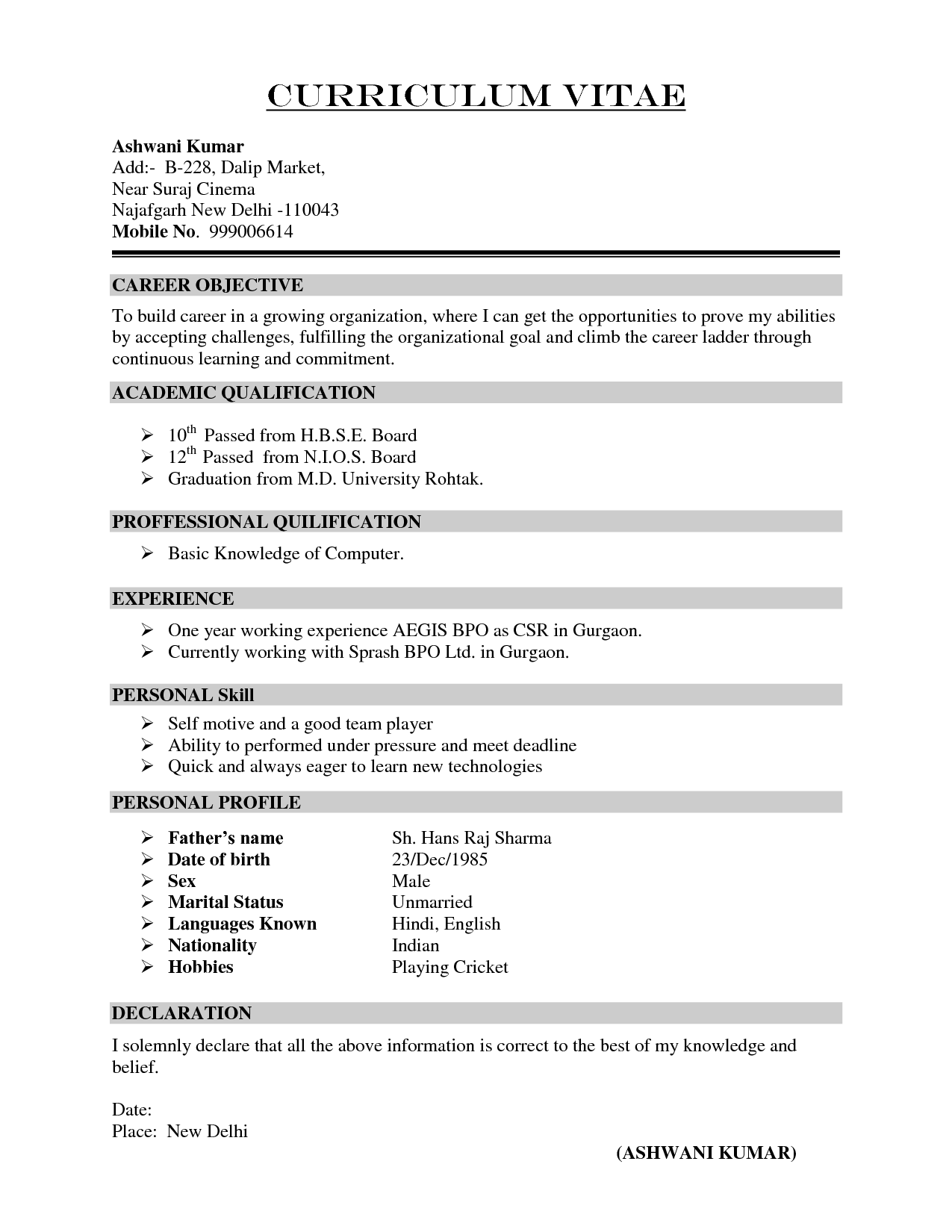 cv and resume samples
