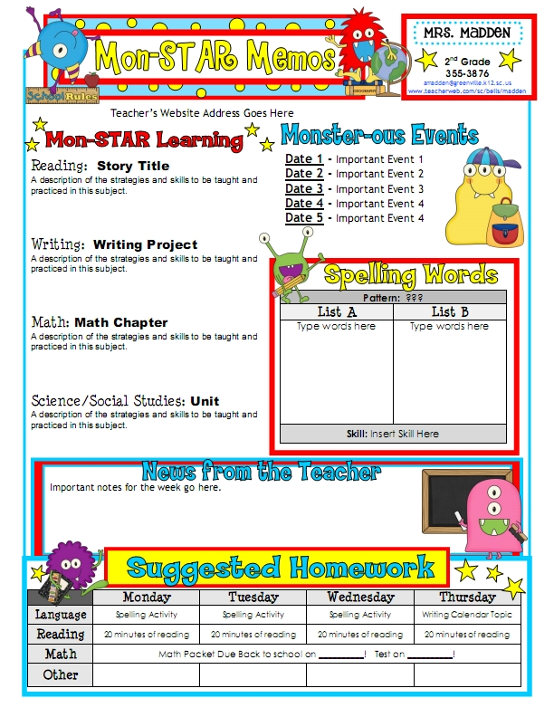 Classroom Newsletter Template Fotolip Rich image and wallpaper - school newsletter templates