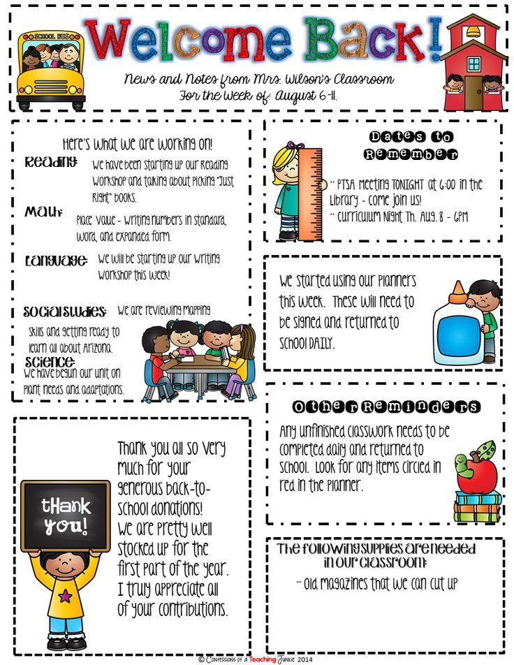 teacher newsletter examples - Acurlunamedia
