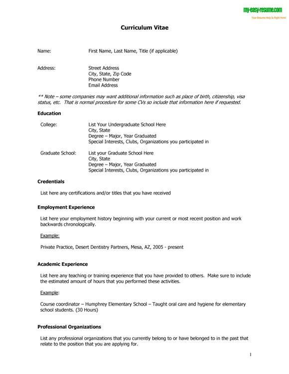 Curriculum Vitae Cv Samples - Fotolip
