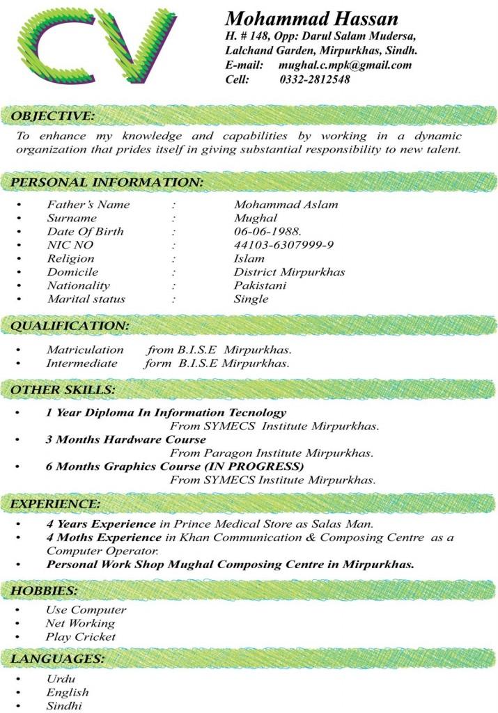 Curriculum Vitae Format - Fotolip