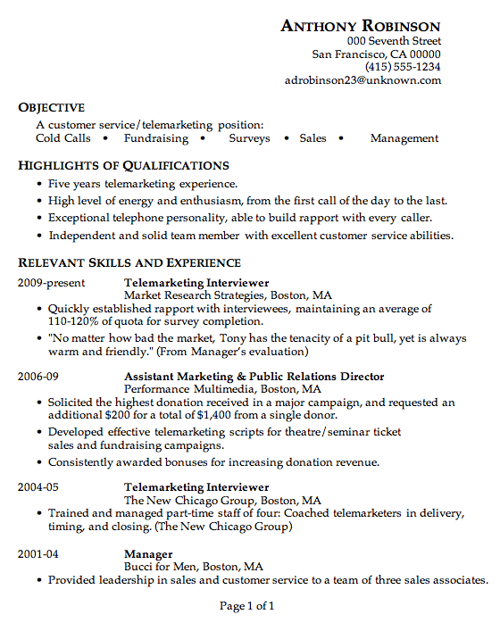 Example Of Good Resume