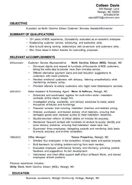 example customer service resume reddit