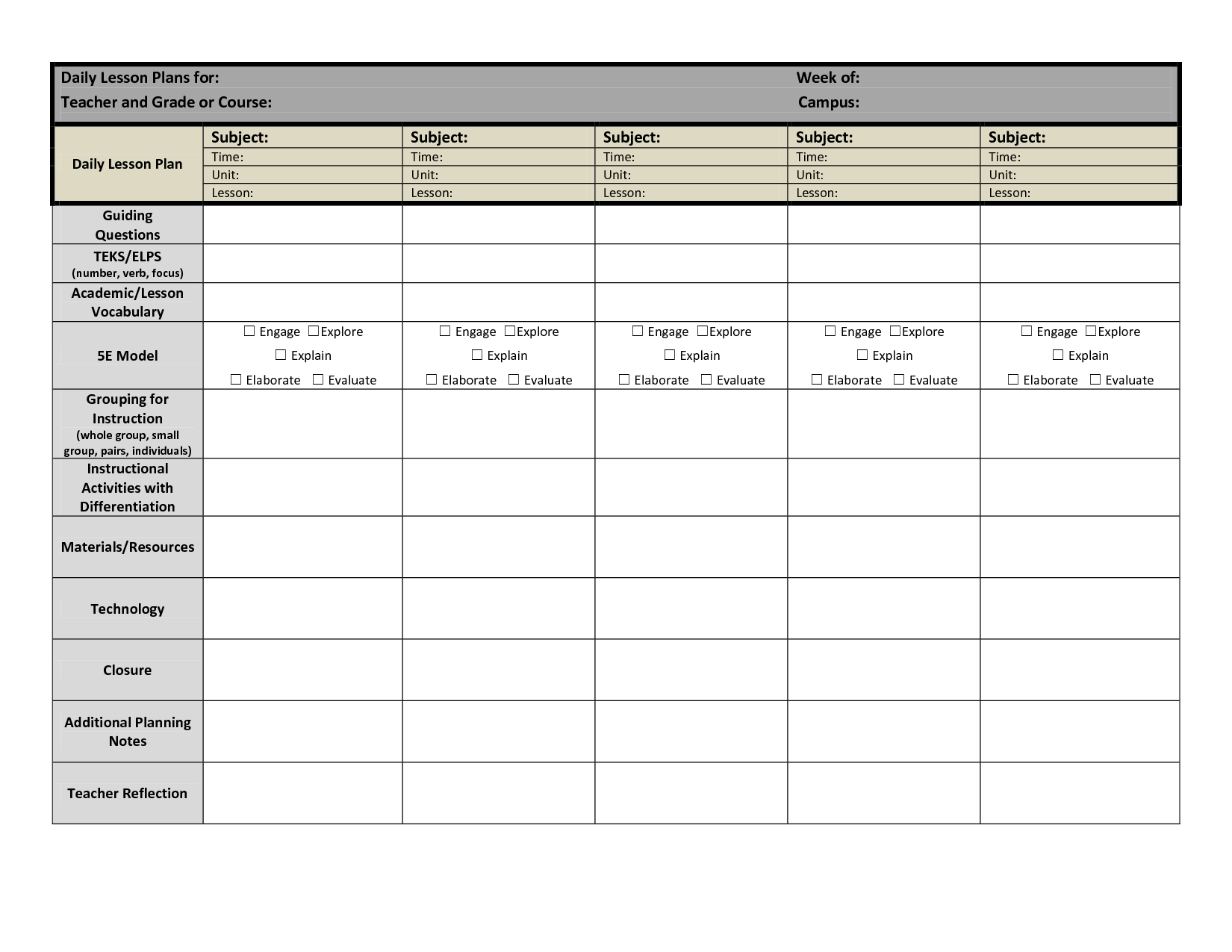 Daily Lesson Plan Template Elementary Costumepartyrun