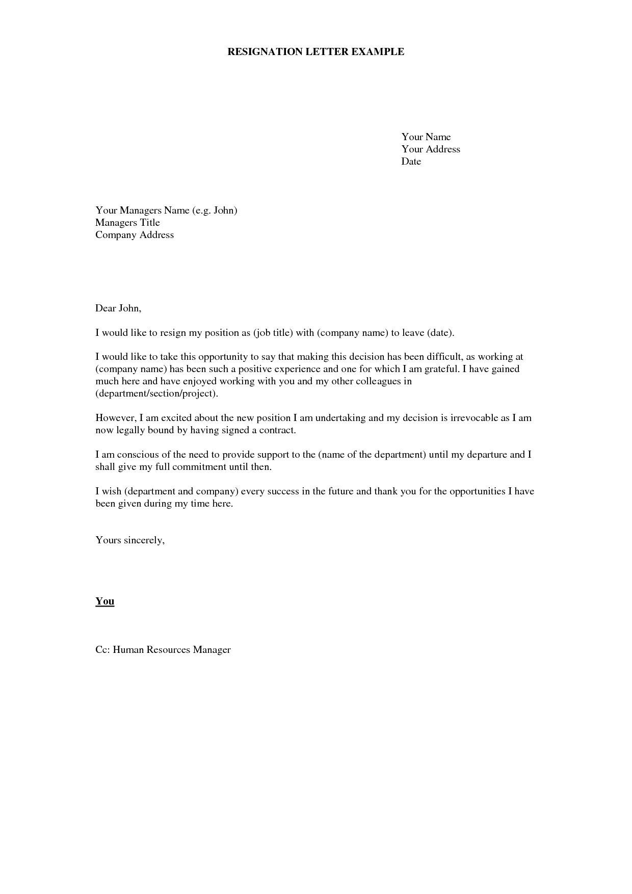Cover Letter For Resignation Letter