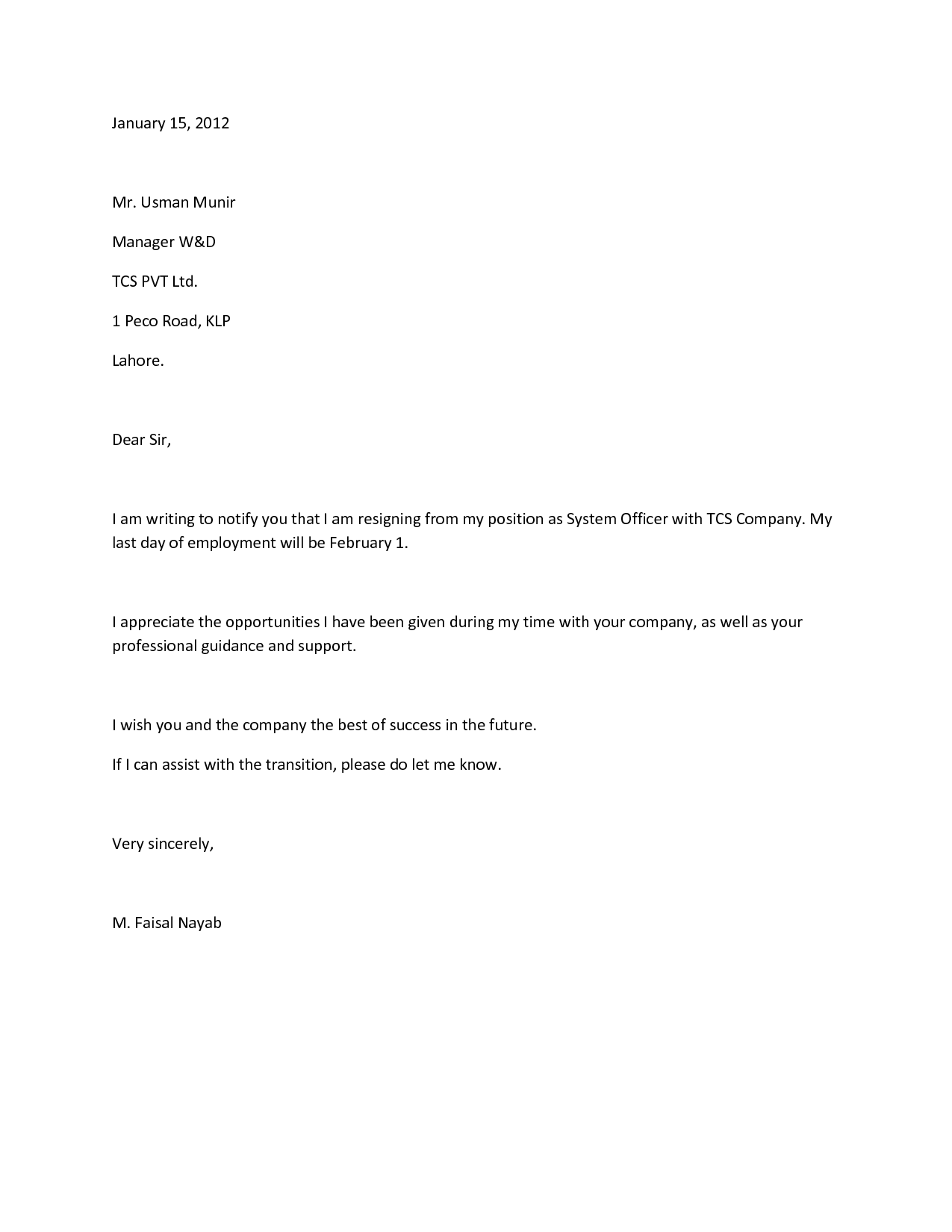 a letter of resignation free download doc template pdf format – Free Letter of Resignation Template Word