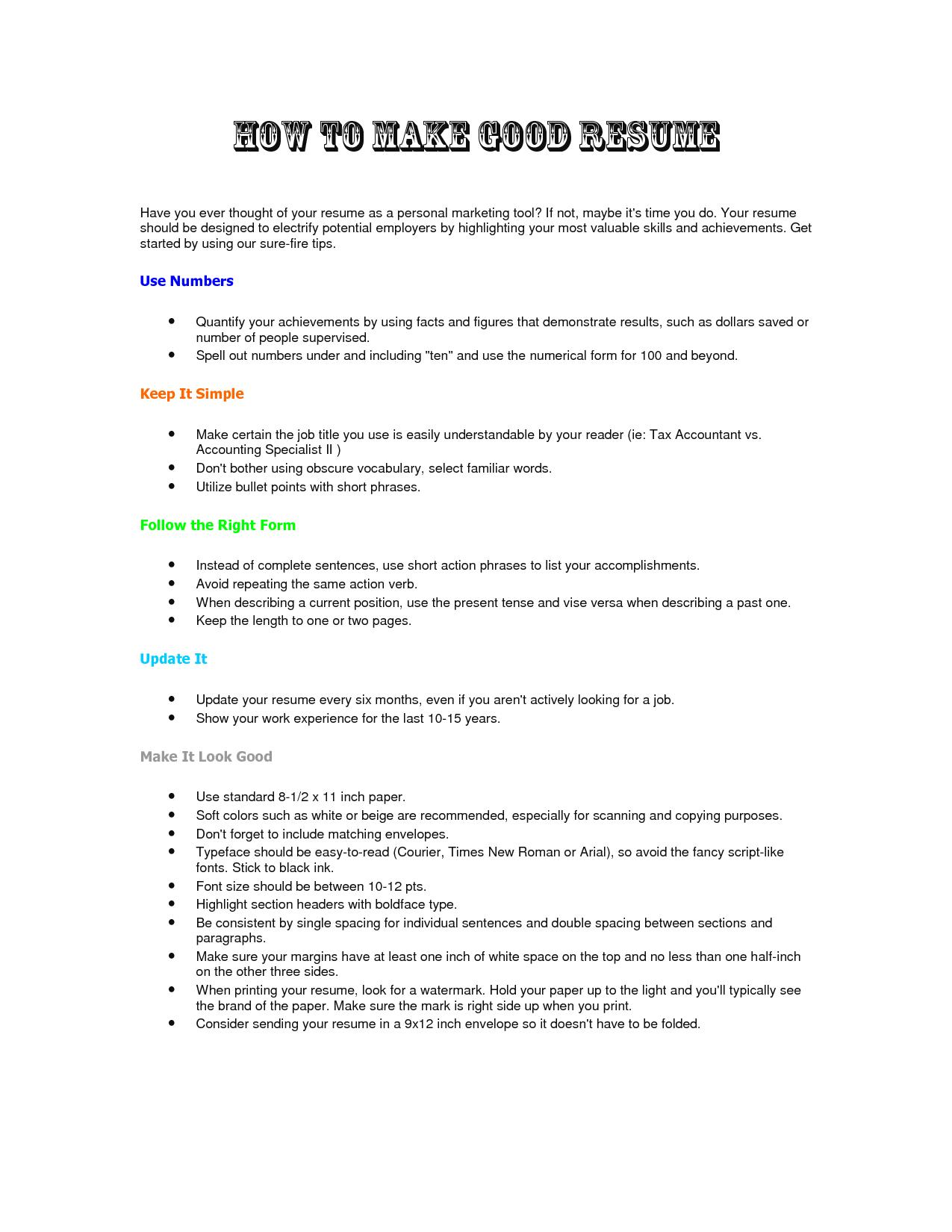 how to make a proper resume