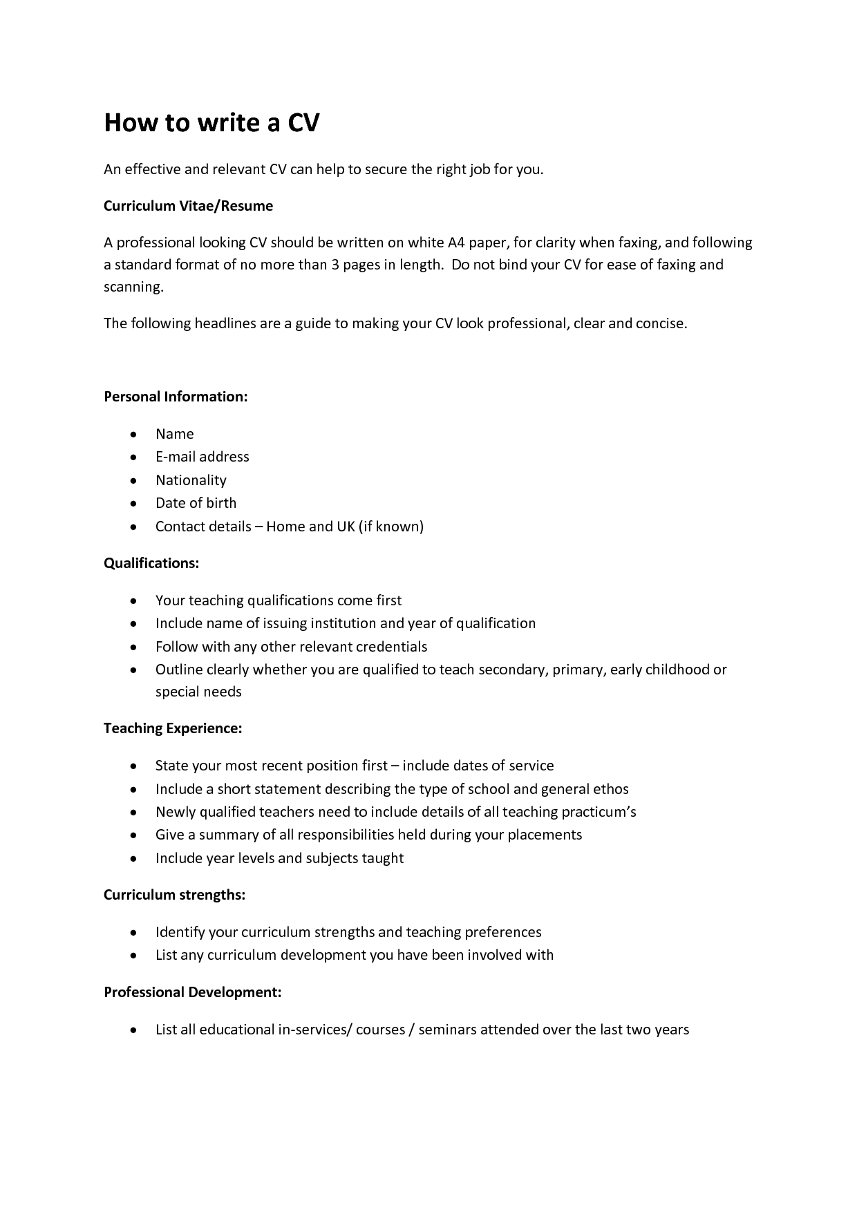 quick guide sample cv how to write a cv the 5 step quick guide write a
