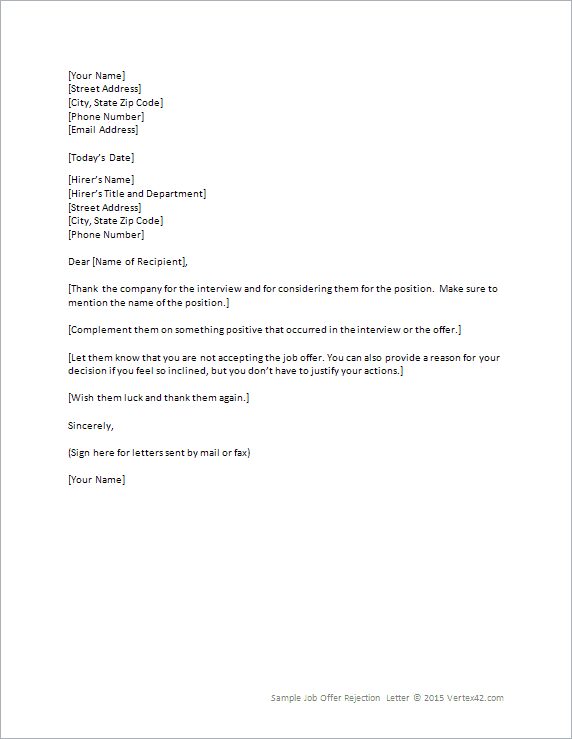 Employer Rescind Job Offer Letter Sample | Professional resumes ...