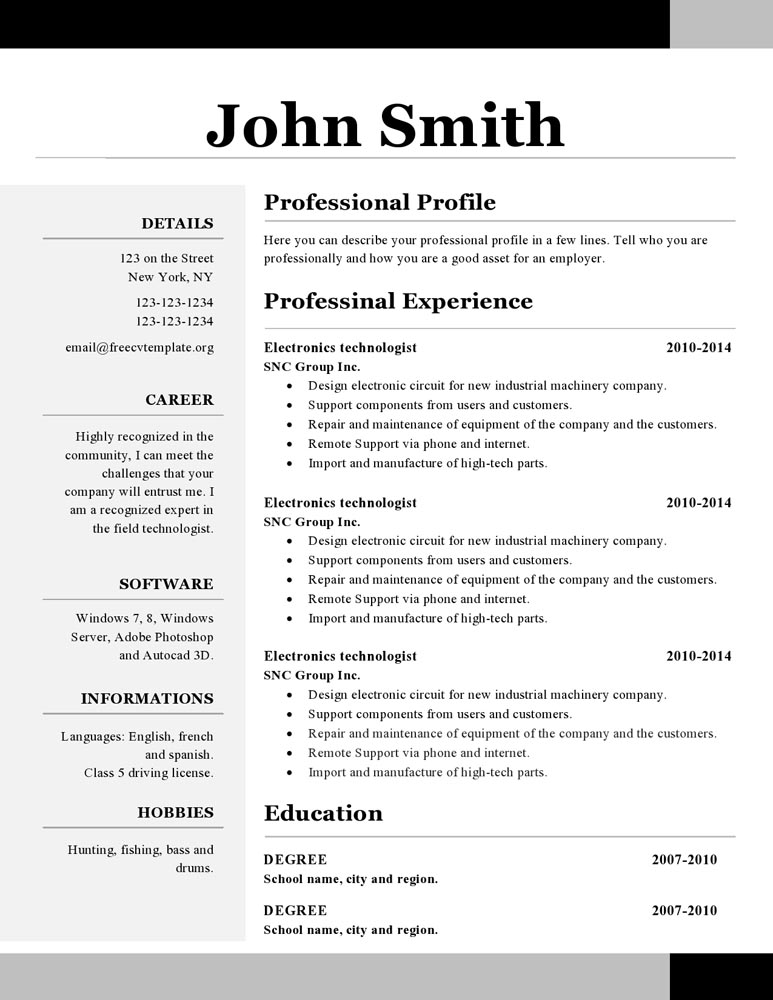 template creative cv on open office