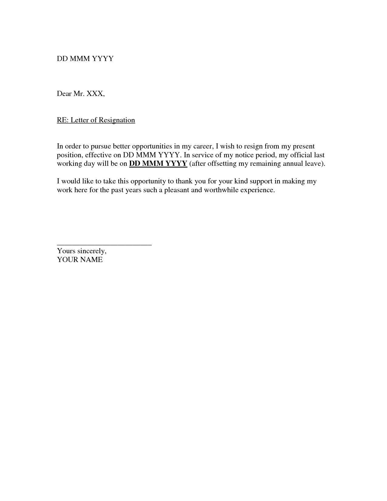 letter of resignation outline