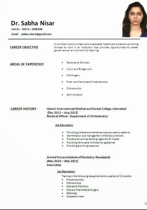 Resume Format Fotolip Rich image and wallpaper - dental resume format