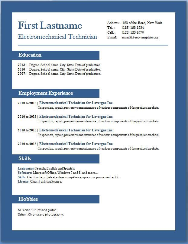 Resume Template Word   Resume Templates And Resume Builder