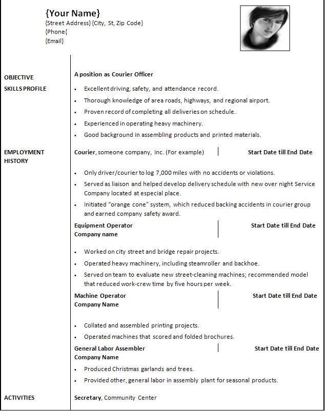 Resume Templates Ms Word   Text