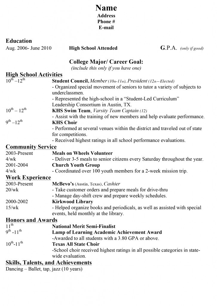 resume for a high school student with no work experience