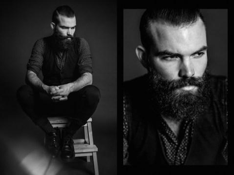 Portraits als Bildercollage von bärtigem Mann aus Mannheim.