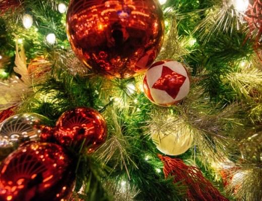 Ornimants On A Festive Christmas Tree