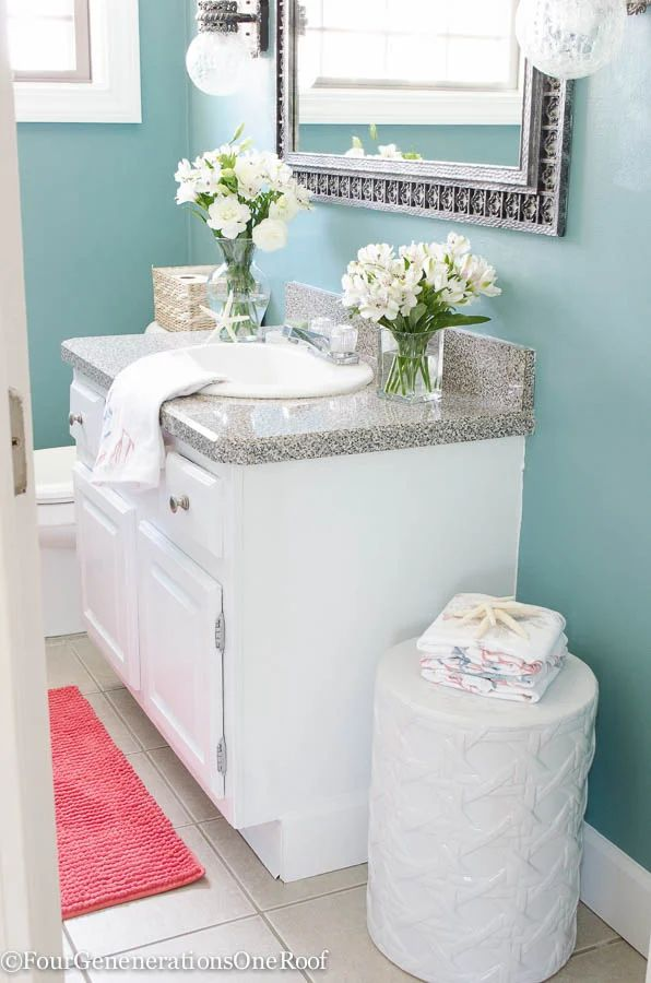Gorgeous blue green powder room makeover before amp after i love how