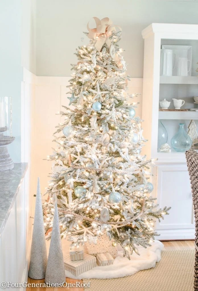 Blue + White Coastal Christmas Tree - Four Generations One Roof