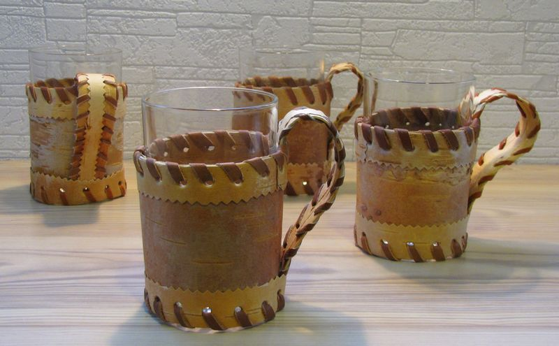 Hot Drink Glass Holder With Glass Made Of Birch Bark