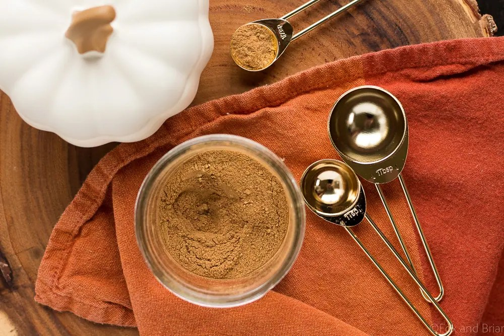 This pumpkin pie spice mix is so easy to make, and so much better than the store bought version! Just five spices will make all your fall baking complete!