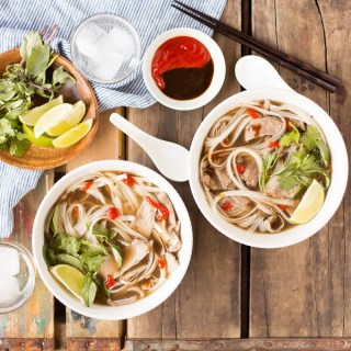 This easy Slow Cooker Beef Pho simmers away all day, creating a flavorful broth that you and your family can enjoy on a cold day! #sponsored