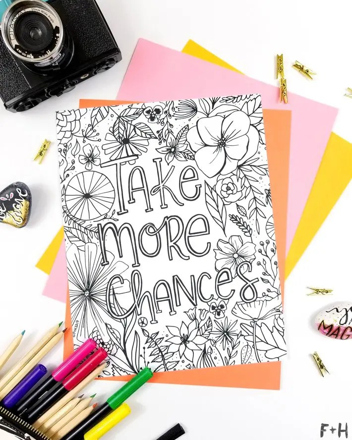 Free Encouragement Flower Coloring Page Printable Fox + Hazel