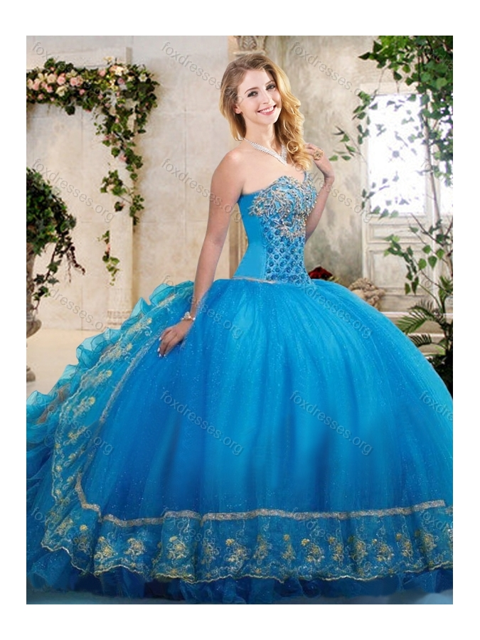 Big Puffy Teal Sweet 16 Dress with Beading and Appliques