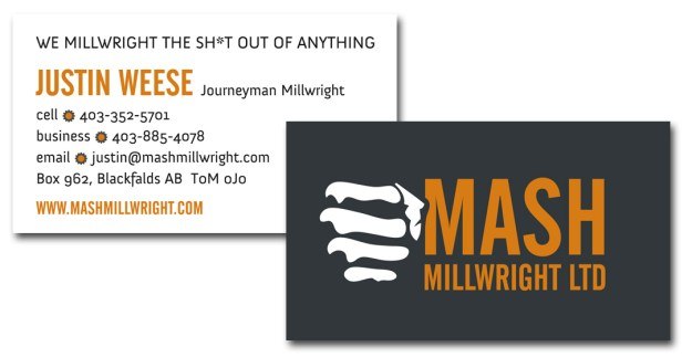 Mash Millwright Business Cards