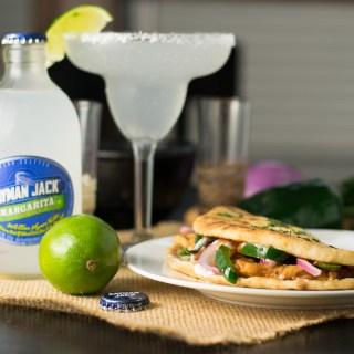 Ancho chicken flatbread sandwich with Cilantro and Lime