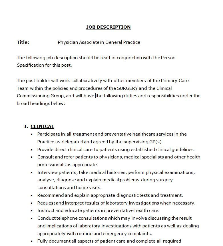 Document Library Faculty of Physician Associates - quality health - physician job description
