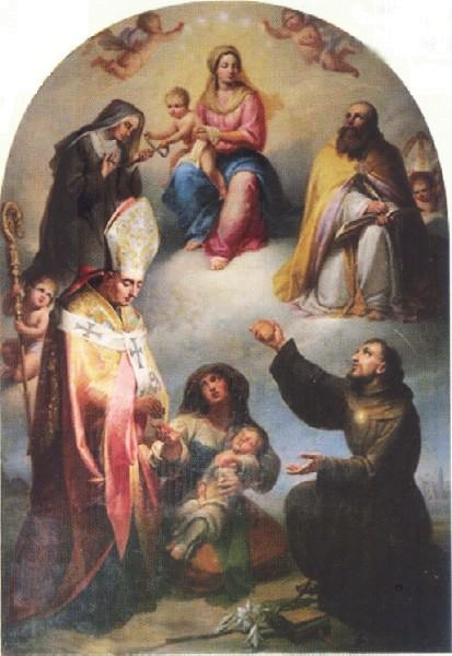 Sopra, un'opera dell'artista: La Madonna della Cintura