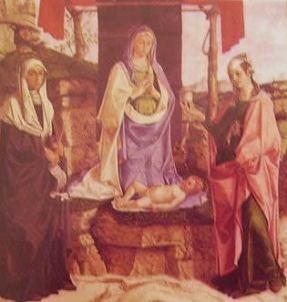 Madonna in trono fra le sante Monica e Maria Maddalena: Bartolomeo Montagna 1483. Museo civico di Vicenza