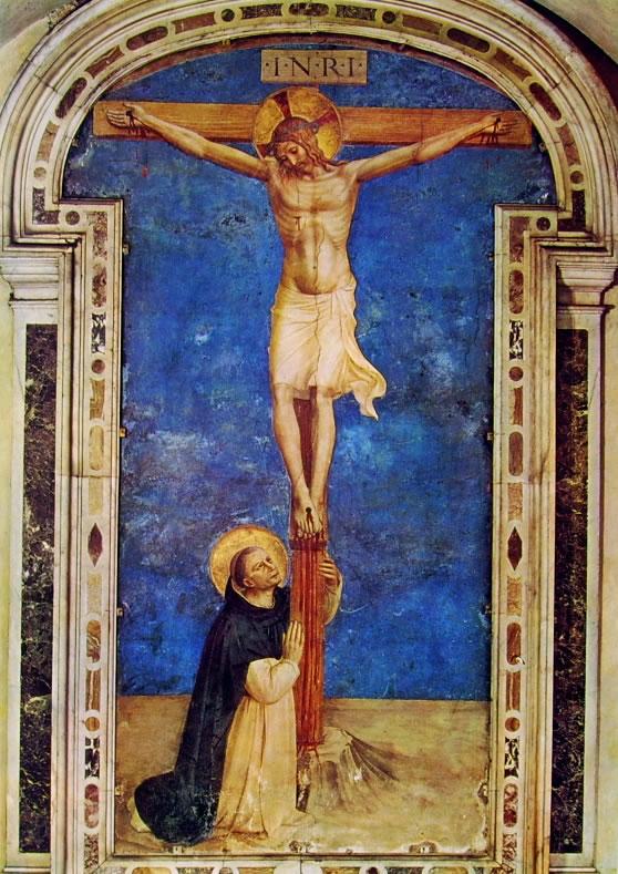 Affreschi di San Marco - San Domenico adorante il crocifisso