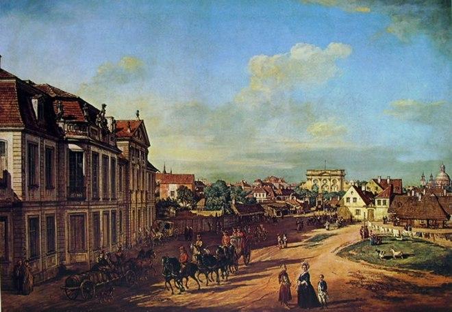 Bellotto: Varsavia - Palazzo Lubomirski e la porta di ferro da ovest
