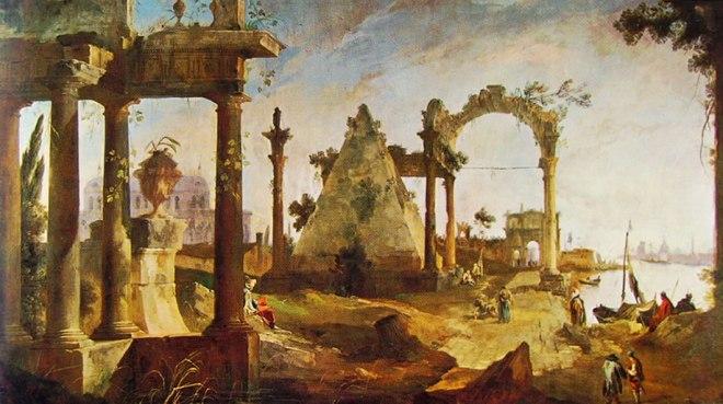 Il Canaletto: Capriccio con rovine classiche