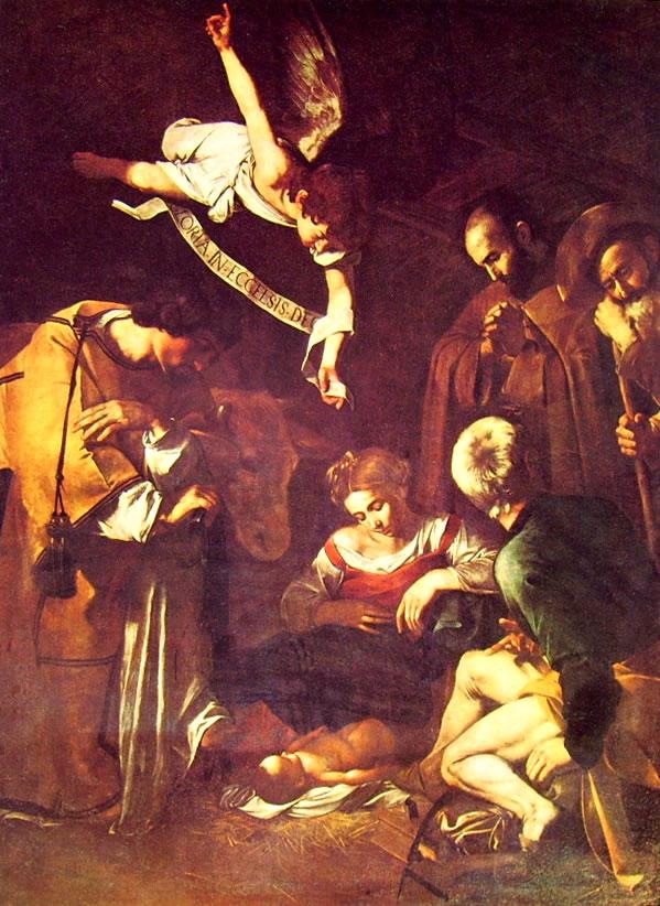 Il Caravaggio: La natività con i Santi Francesco e Lorenzo