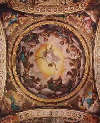 Affreschi di San Giovanni Evangelista, veduta complessiva della cupola e dei pennacchi, dimensioni totali cm. 1600 x 1300. (Sotto i particolari)