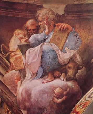 Particolare della cupola: I Santi Luca ed Ambrogio